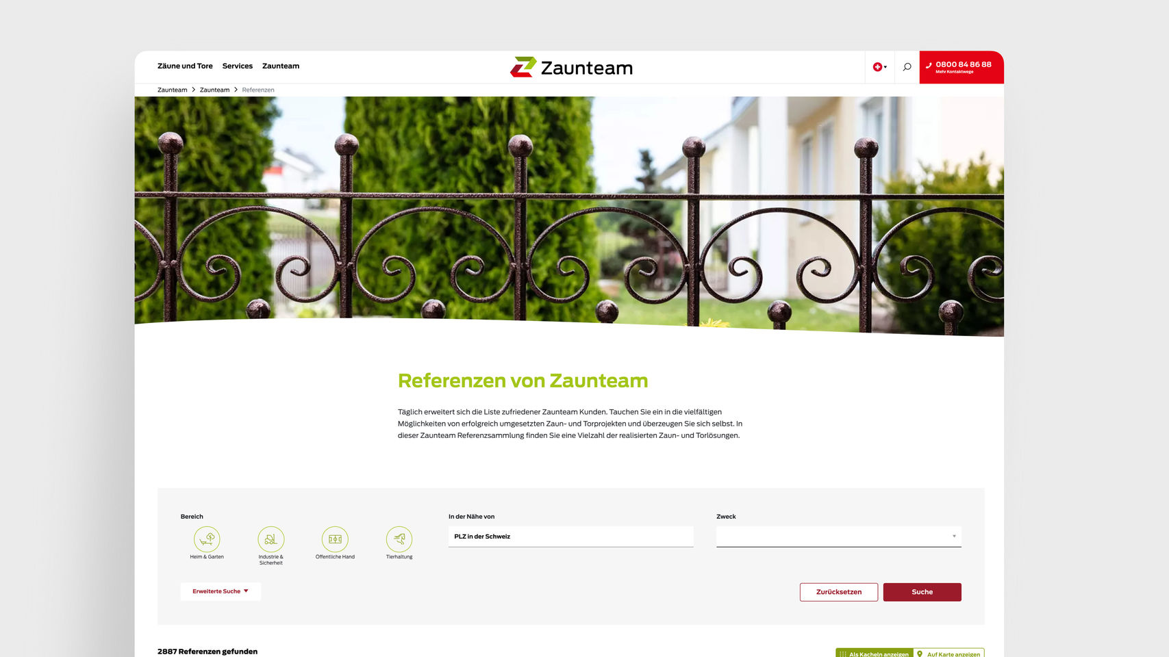 Zaunteam Franchise AG – Referenzen Franchise Website