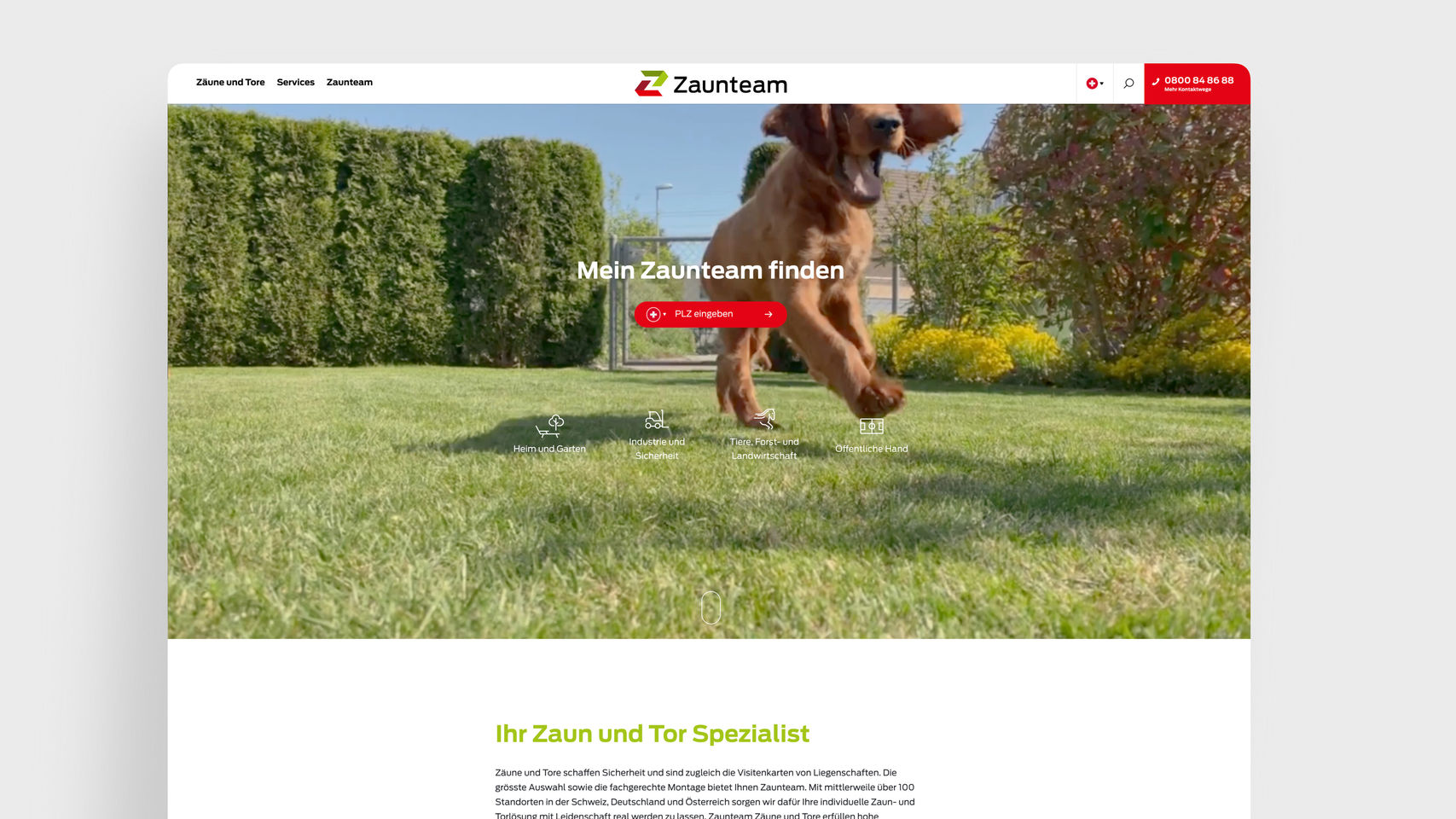 Zaunteam Franchise AG – Startseite Franchise Website